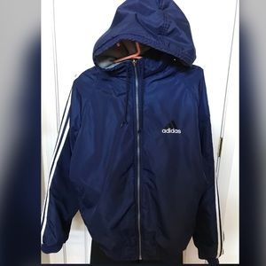 VINTAGE Adidas Reversible Hooded Blue/Gray Jacket